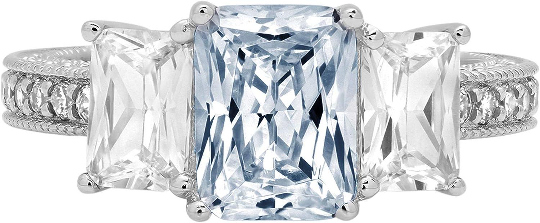 Clara Pucci 4.36 ct Emerald Round Cut Solitaire 3 stone Accent Stunning Genuine Flawless Natural Aquamarine Gem Designer Modern Statement Ring Solid 18K White Gold