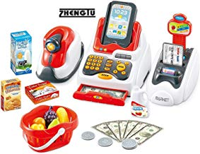 ZHENGTU Supermarket Cash Register Play Set with Supermarket Toys with Scanner & Swipe Machine
