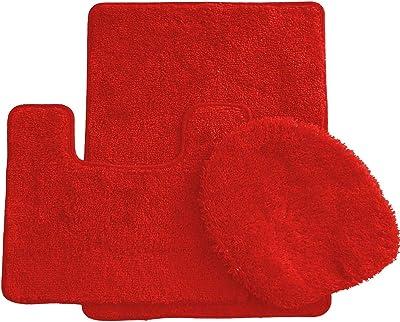 "Ben & Jonah Simple Elegance by Ben&Jonah (18"" x 30""), 1 Contour Mat 1 Toilet Seat Cover (APX 18"" x 18"") -Red 3 Piece Bath Rug Set"