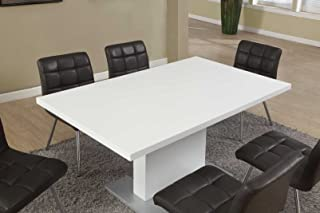 Monarch Specialties High Glossy White Dining Table, 35 x 60-Inch