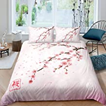 Erosebridal Cherry Blossoms Bedding Set Japanese Style Romantic Theme Pink Comforter Cover Set Botanical Floral Printed Du...