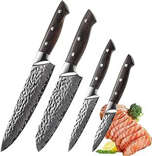 Japanese Knife Set Damascus Kitchen Knife Set 4pcs, Chef Santoku Utility Paring Cutlery Knives, VG10 Stainless Steel Rosewood Handle (4pcs)