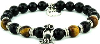 Bracciale uomo braccialetto donna con pietra dura naturale occhio di tigre e onice nero con gufetto portafortuna
