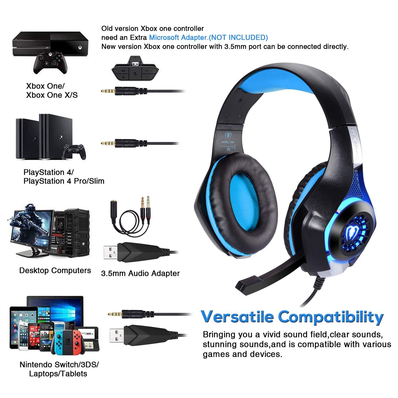 BlueFire Cascos Gaming PS4, Auriculares Gaming con Micrófono Headset Mac Estéreo Juego Gaming Jack 3,5mm LED Bajo Ruido Compatible con PC/Xbox One/Móvil/etc (Azul): Amazon.es: Videojuegos