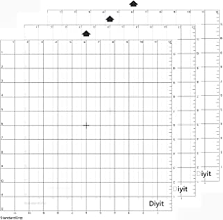Diyit Standard Grip Cutting Mat 12x12 for Silhouette Cameo 3/2/1(3 Pieces)-Gridded Cutting Mat Perfect for Silhouette Cameo