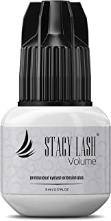 VOLUME Eyelash Extension Glue Stacy Lash 5 ml- 3 Seconds Drying time - Retention 5-6 Weeks - Professional Use Only Strong Black Adhesive for Individual Semi-Permanent Extensions Supplies - Latex Free