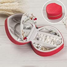 JUAN Traveling Jewelry Box 3-layer Leather Pink and Gold Mini Princess Jewelry Finishing Storage Box (color : RED) (Color : Gold)