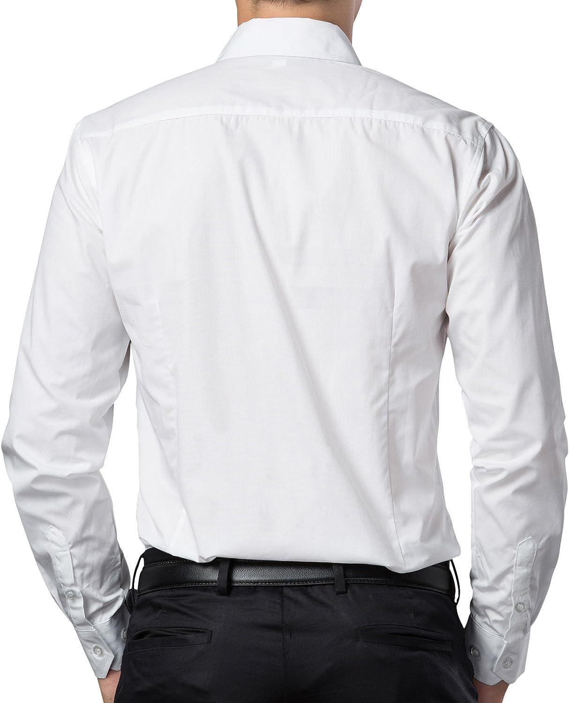 PJ PAUL JONES Men's Solid Dress Shirt Long Sleeve Button Casual Shirt