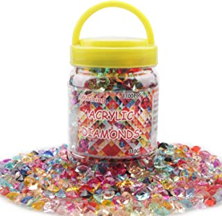 Meching 1100 PCS(11 OZ) Acrylic Diamonds Wedding Table Gems Scatter Crystals Rhinestones for Table Centerpiece Decorations, Vase Fillers, Wedding Decorations, Birthday Decoration (Multi, 10 MM)