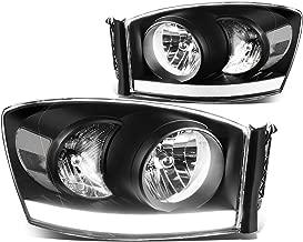 For Ram Truck 3rd Gen Old Body Pair of Black Housing Clear Corner Headlights + LED DRL