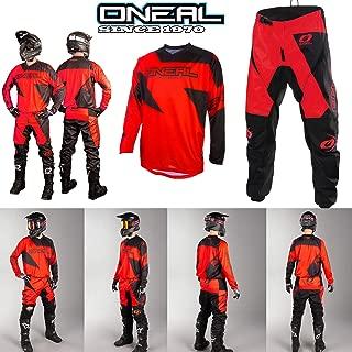 ONeal Tuta Motocross Nuovi ELEMENT-2020 MX Jersey e Pantaloni Moto off-Road Tute Quad Sportivi Maglia e Pants Racewear Scooter Abbigliamento Racing Suit Nero Rosso