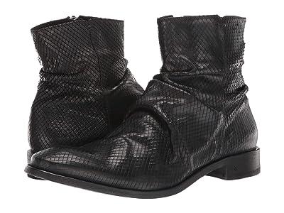John Varvatos Collection Morrison Sharpei Laser Cut Snake Boot (Black) Men