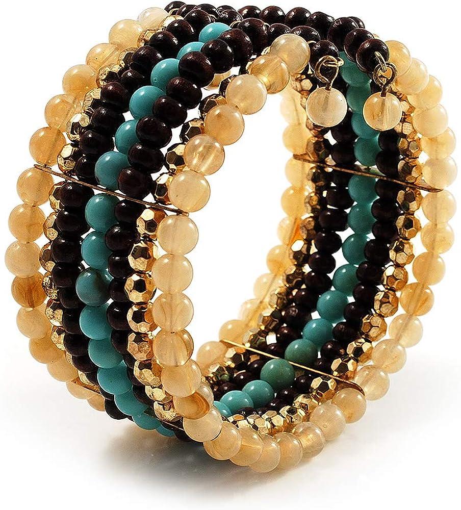 Avalaya Boho Style Wide Wood&Acrylic Bead Cuff Bracelet