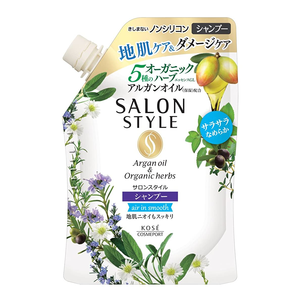 質素な生き物洗うKOSE コーセー SALON STYLE(サロンスタイル) ノンシリコンシャンプー (エアインスムース) 詰め替え 360ml
