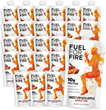 Fuel For Fire - Sweet Potato Apple (24 Pack) Fruit & Protein Smoothie Squeeze Pouch   Perfect for Workouts, Kids, Snacking - Gluten-Free, Soy-Free, Kosher (4.5 ounce pouches)