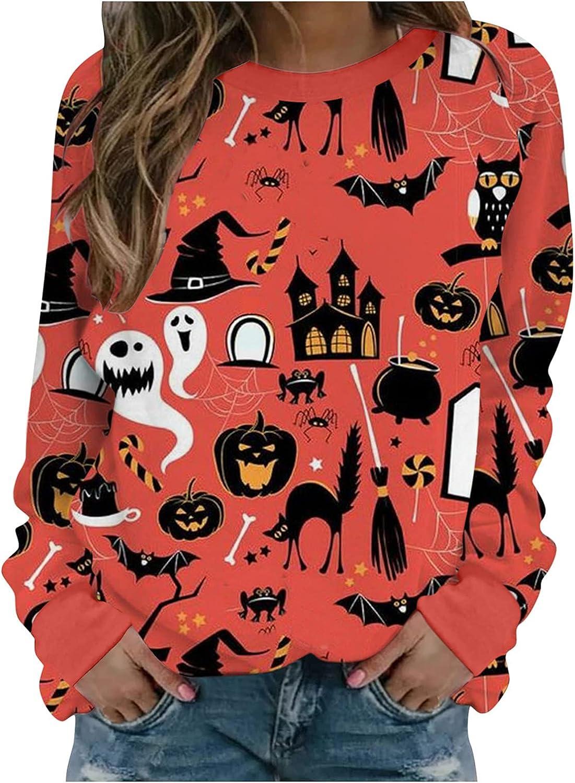 Sweaters for Women Halloween Christmas Sweatshirt Long Sleeve Casual Pullover Shirt Hoodies Tops Tunic