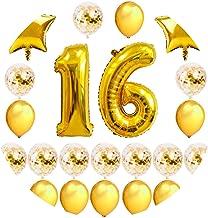 Noon-Sunshine decorative-plaques Happy Birthday Banner Tissue Paper Tassel Bunting Garland Pom Pomsation,Gold 16
