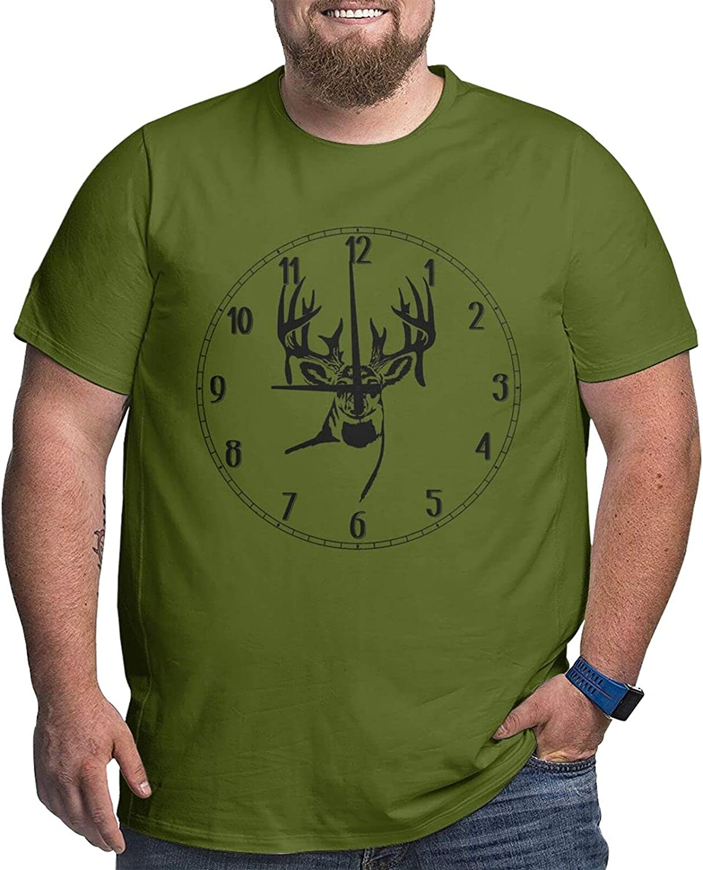 Deer W Antlers Looking Forward Men Simple Big Size Summer Outdoor Short Sleeve Round Collar Tshirts