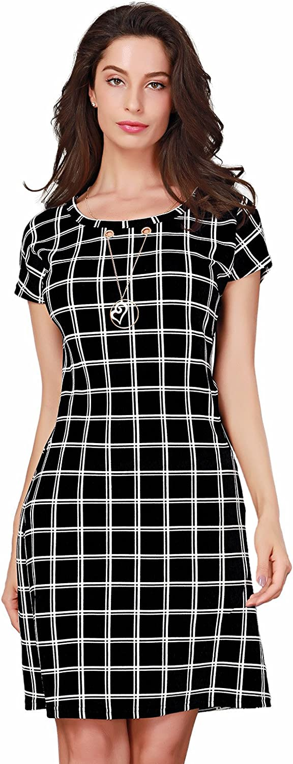 Triplewood Women's Elegant Short Sleeve Wear to Work Casual Business Check Dress with Pocket