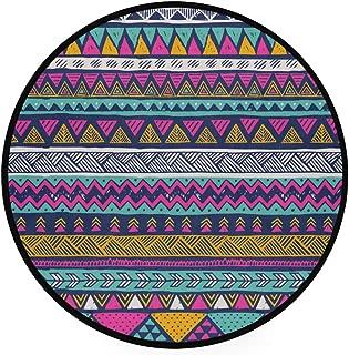 YOLIKA Home Decor Light Round Area Rug,Multicolor Tribal Vector Seamless Pattern Aztec,Super Soft Circle Carpet (3'Diameter)