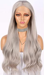 Long Wavy Light Ash Platinum Grey Lace Front Wigs for Women Silver 22 Inches Glueless Lace Front Light Dirty Gray Syntheti...