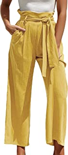 Ewish Women's Long Wide Leg Summer Trousers Elasticated Waistband Casual Trousers with Pockets and Belt