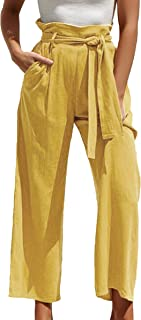 ECOWISH Womens Cotton Soft Palazzo Wide Leg Pant with...