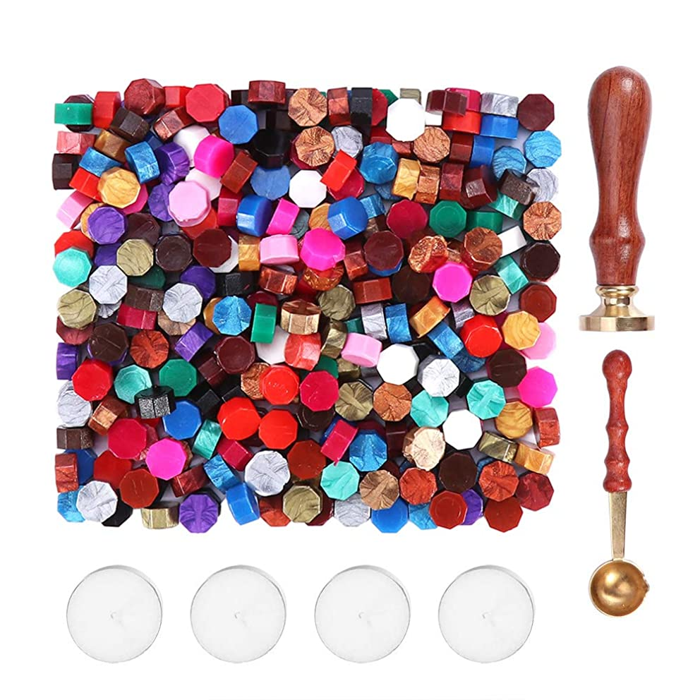 LM 300Pcs Sealing Wax Beads with Wax Stamp,4Pcs Tea Candles and 1Pcs Wax Melting Spoon for Wax Stamp Sealing,Assorted Colors