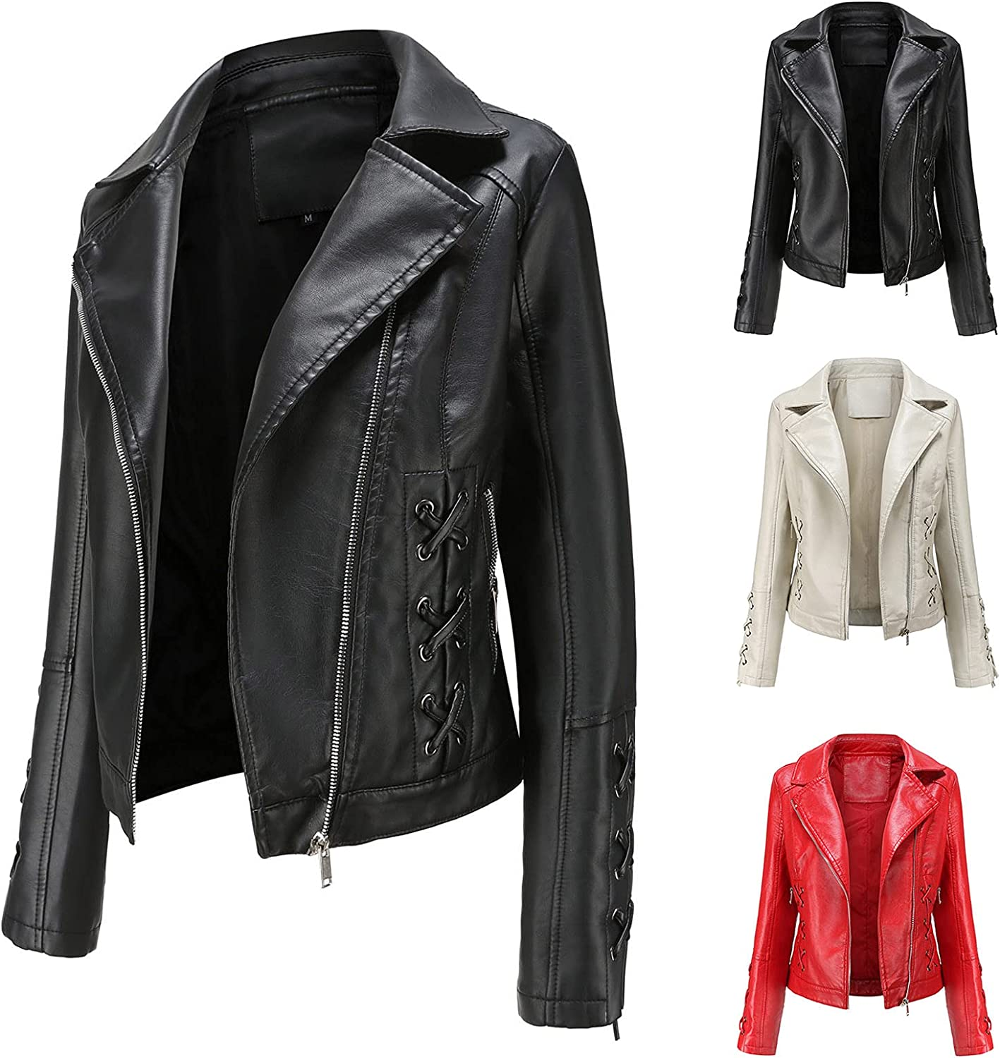 Women's Leather Stand Collar Zip Jacket Motorcycle Bike Short Suit Coat Slim Work Cool Tops with Strappy Tunic