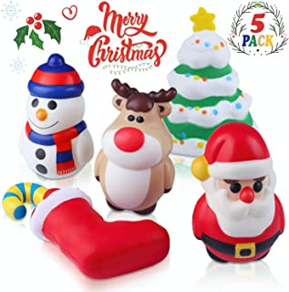 Jeicy Christmas Squishy Toys Includes Santa, Christmas Tree, Reindeer,Stocking & Snowman Kawaii Slow Rising Squishy Toys 5 Pack