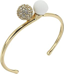 Alexis Bittar - Crystal Encrusted with Matte White Accent Interlocking Sphere Cuff Bracelet