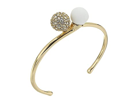 Alexis Bittar Crystal Encrusted with Matte White Accent Interlocking Sphere Cuff Bracelet