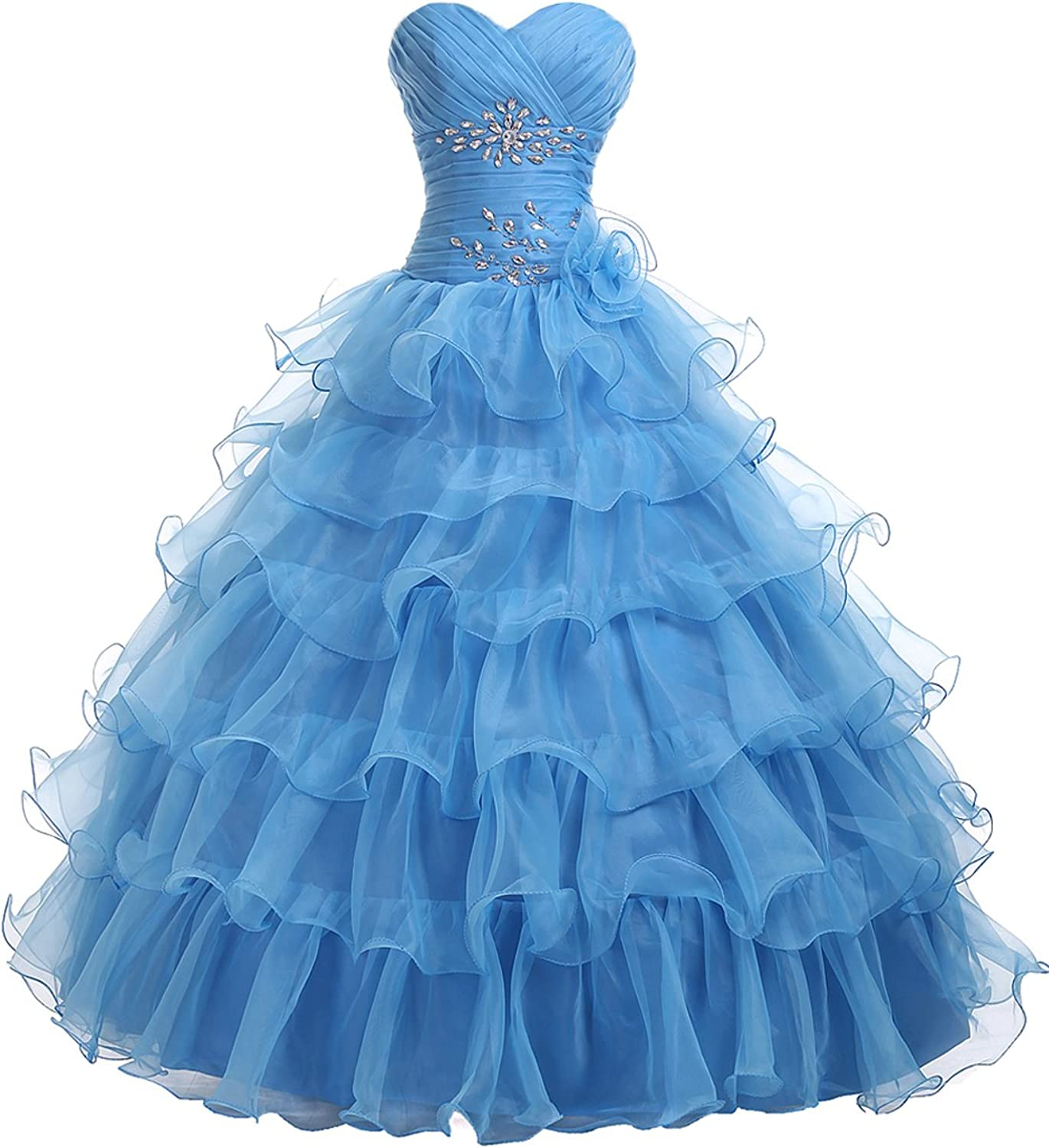 DINGZAN Organza Prom Quinceanera Ball Dresses Wedding Reception Gowns