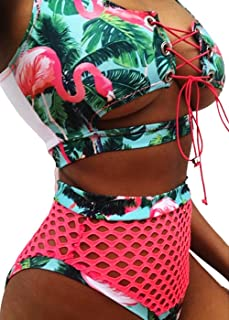 Sexy Women Two Pieces African Print Lace Up Bandage Bikini Swimsuit Set High Waisted Bathing Suit