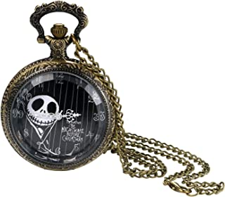 Transparent Watch Cover Ghost Head Digital dial Quartz Pocket Watch