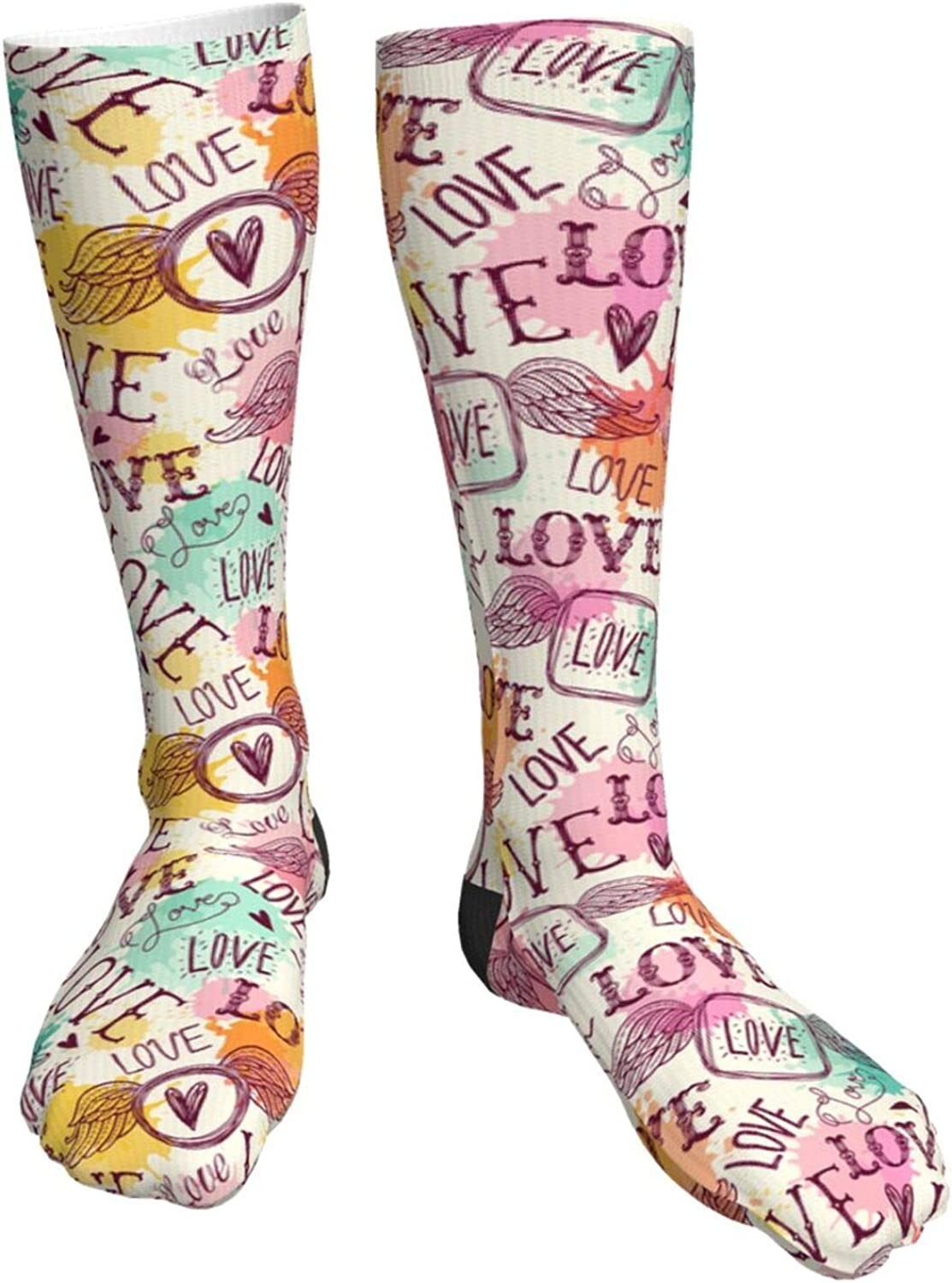 Hearts Max High material 61% OFF Dots Lines Stars Novelty Crazy High Tube Knee Socks Crew