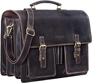 """STILORD Anton"""" Aktentasche Leder XL Vintage Lehrertasche mit Laptopfach 15,6 Zoll große Ledertasche zum Umhängen Trolley aufsteckbar"""