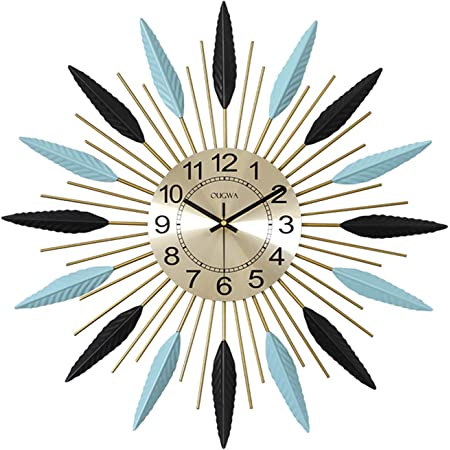 Wjieh Starburst Wall Clock Large Midcentury Modern Wall Clock Unique Modern Design Sunburst Clock Mid Century Wall Decor For Living Room Kitchen Bedroom 57cm Home Kitchen