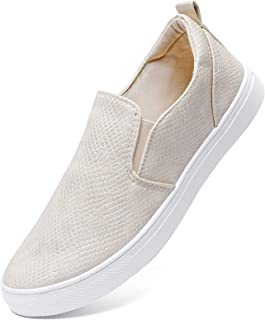 Womens Slip On Shoes Fashion PU Leather Sneaker Casual Walking Shoes