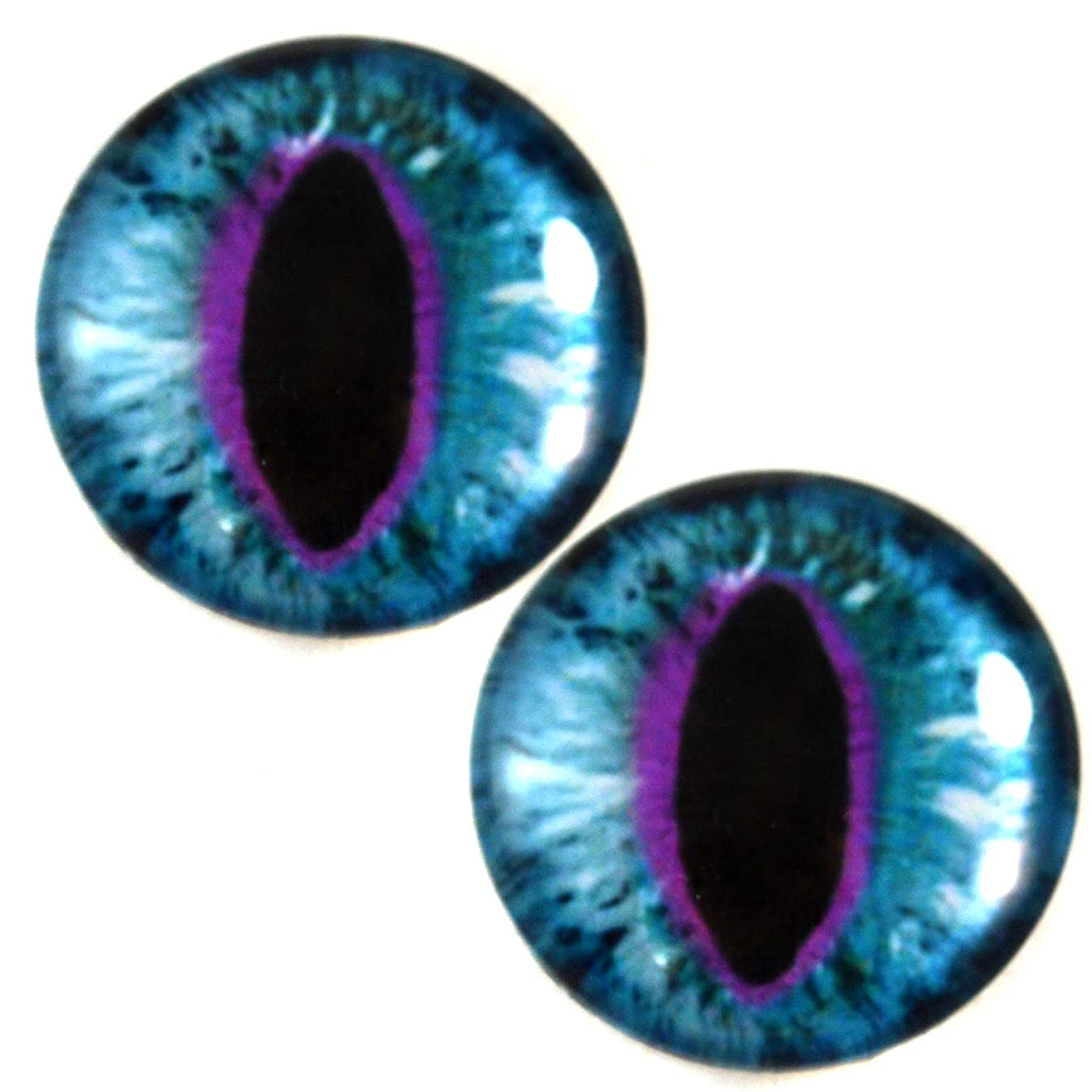 30mm Blue and Purple Cat or Dragon Glass Eyes Pair for Art Dolls, Sculptures, Props, Masks, Fursuits, Jewelry Making, Taxidermy, and More