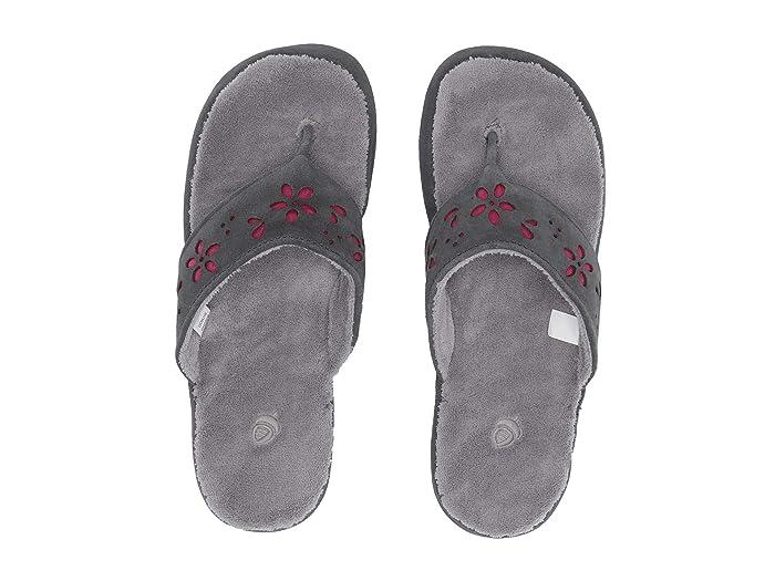 Acorn  Flora Suede Spa Thong (Ash Flora) Womens Sandals