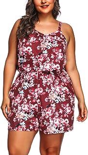 Lover-Beauty Jumpsuit Damen Sommer große größe kurz elegant Blumen Overall Kurze Hose Damen Strand Spielanzug Frauen Casual elelgant Party