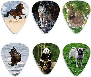 Creanoso Animal Guitar Picks (12-Pack) - Dog Eagle Sloth Horse Panda Wolf Plectrum Medium Celluloid - Stocking Stuffers for Adult Men Women Teens Kids Boys Girls Guitar Gifts