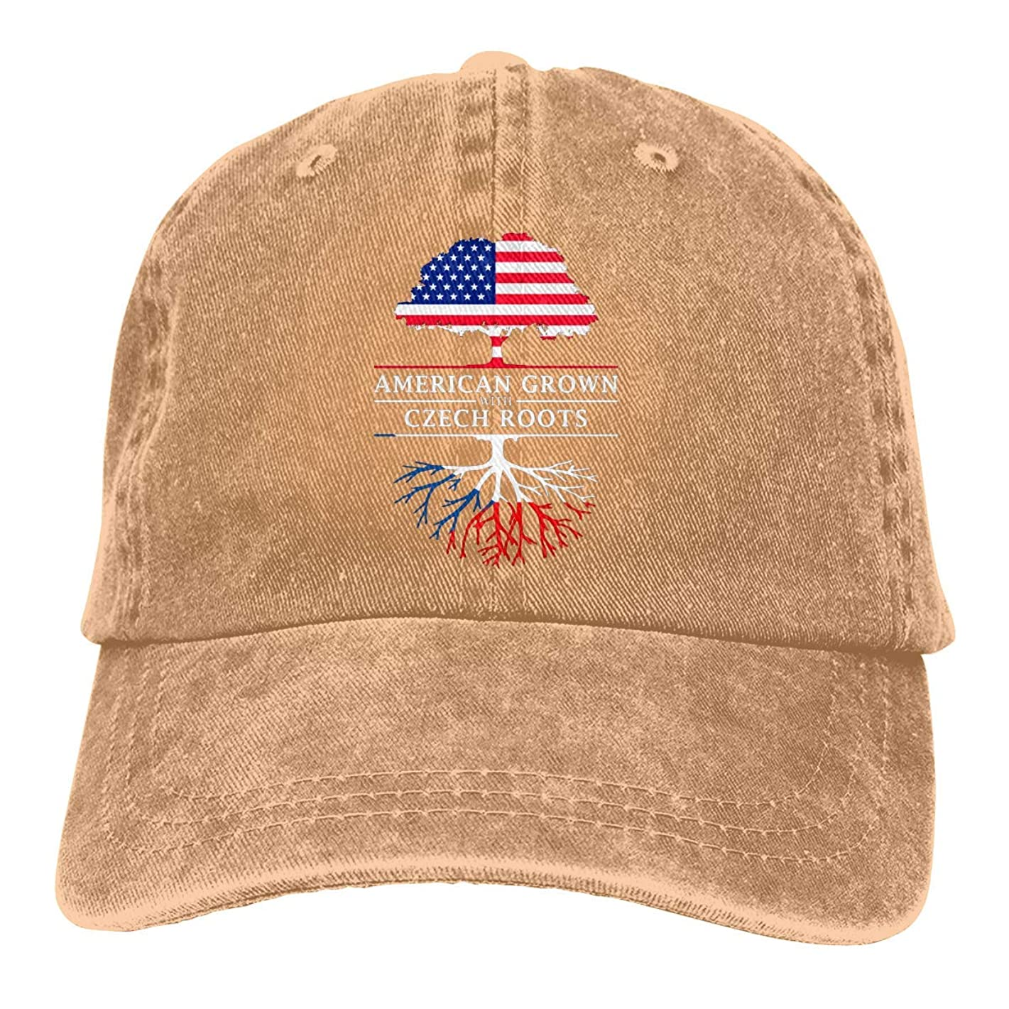 American Grown with Czech Roots Vintage Baseball Cap Trucker Hat for Men and Women
