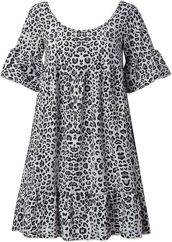 TANLANG 2019 Women S Short Sleeve Blouse Leopard Print Long T Shirt Top Flare Sleeve Loose Rule Hem Plus Size Tops JM 9042