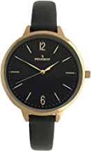 Peugeot Women's Slim Watch, 14K Gold Plated Large Face Watch with Skinny Leather Strap