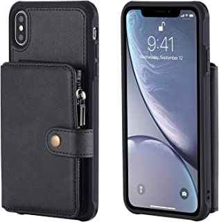 Phone Shell for iPhone Xs MAX Holder PU Leather Waterproof Black 6.5inch 8 Card Slots (ID Card,Credit Card) with Photo Frame Cash Slot Magnetic Buckle Zipper Coin Pocket Gift Girls Boys