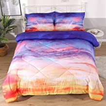 DECMAY Red Blue Space Bedding Queen Beautiful Fire Cloud Comforter Set Sky After Summer Rain Print Box Stitched Durable Quilt Set 3 Pieces Bedspread with 2 Pillowcases