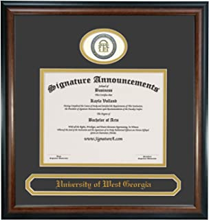 Signature Announcements University of West Georgia (UWG) Undergraduate and Graduate Graduation Diploma Frame with Sculpted Foil Seal & Name (Matte Mahogany, 20 x 20)