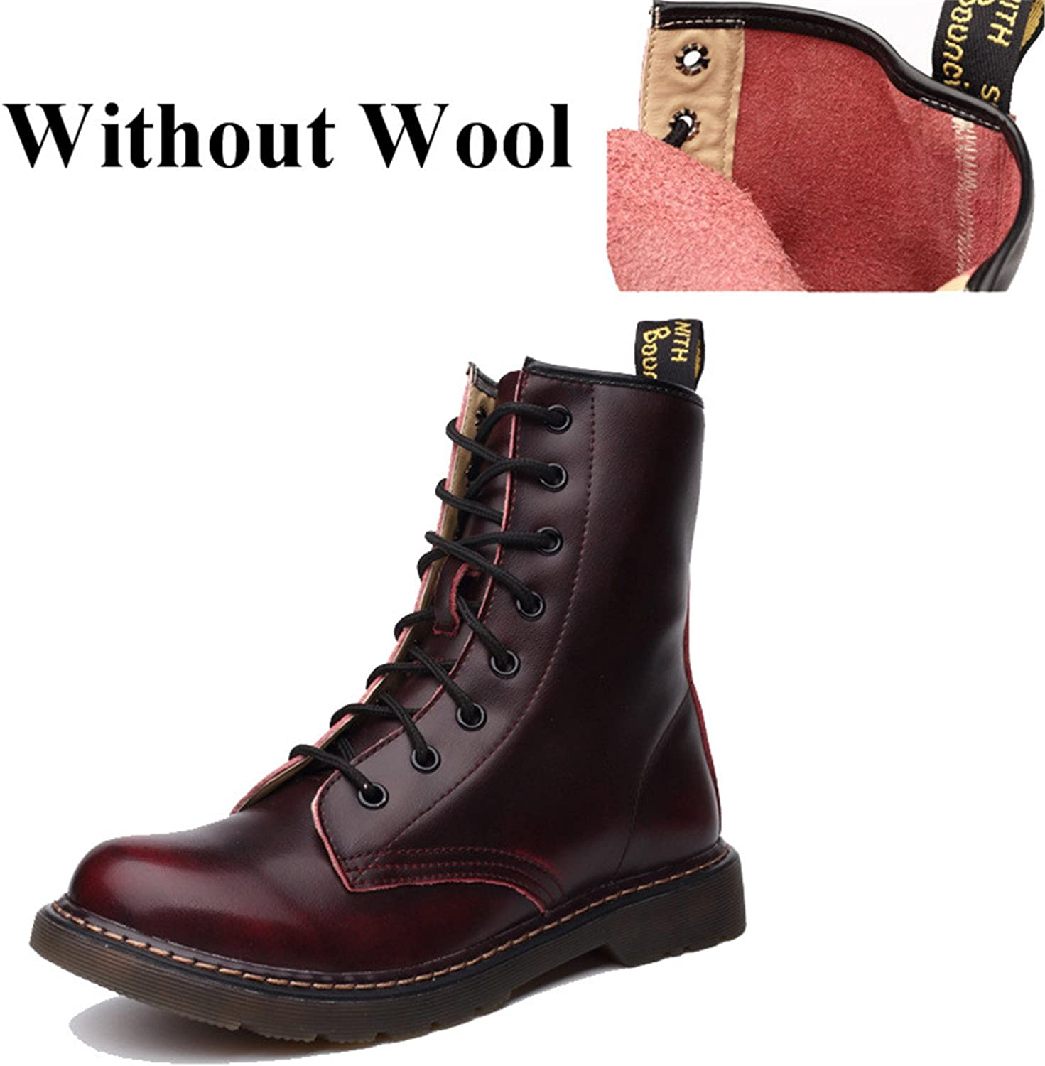Jeff Tribble Genuine Leather Women Martin Boots Winter Warm shoes Motorcycle Ankle Fashion Boots